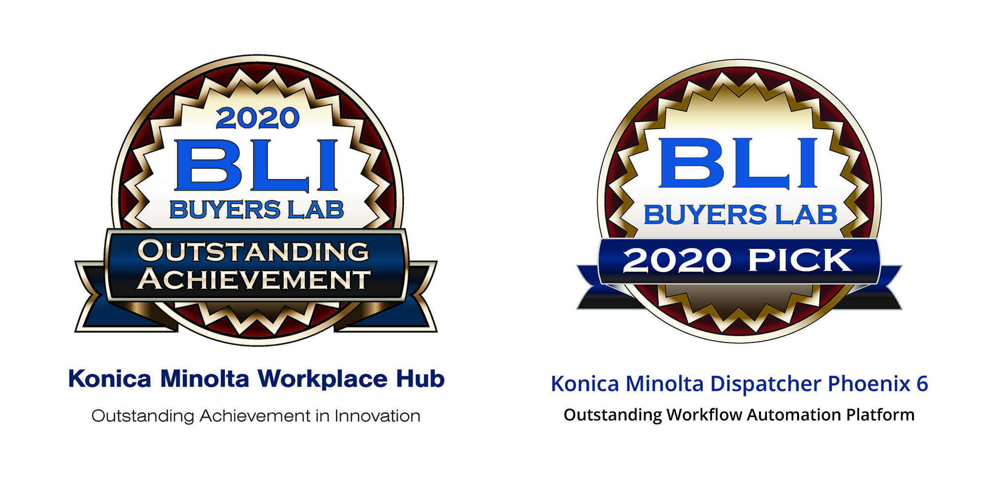 image of 2020 BLI badges for achievement in innovation and outstanding worflow automation platform